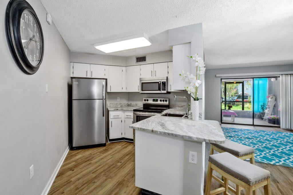 Renovated kitchen in condo flip