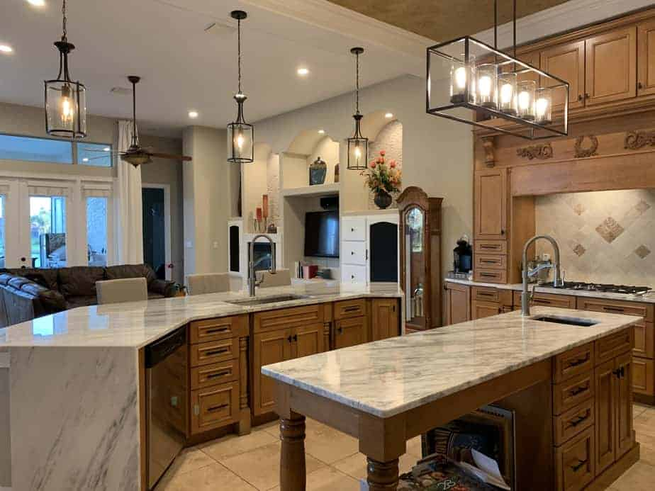 kitchen with double islands overlooking living room