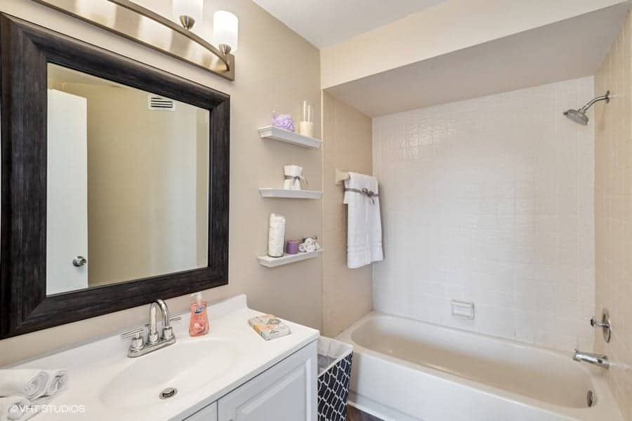 renovated bathroom decorated and staged