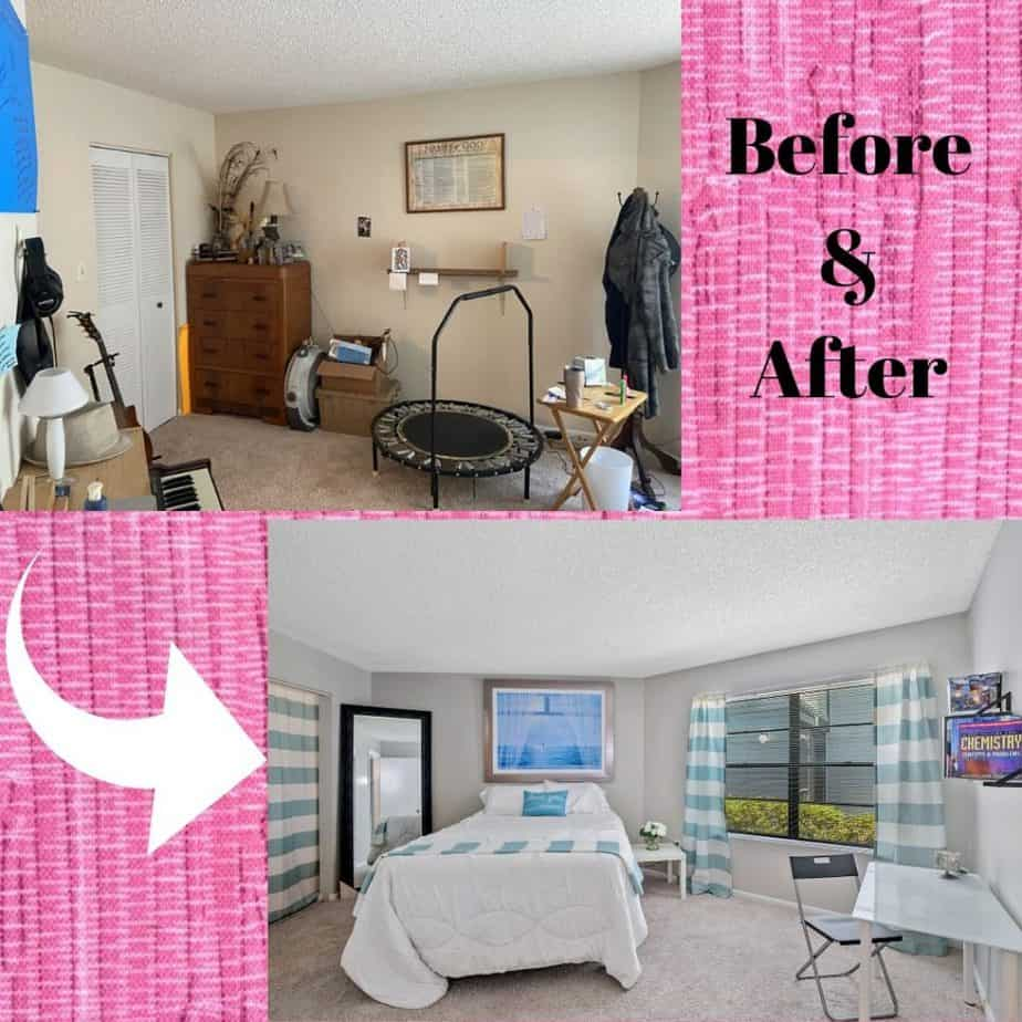 Before and After showing bedroom renovation and staging