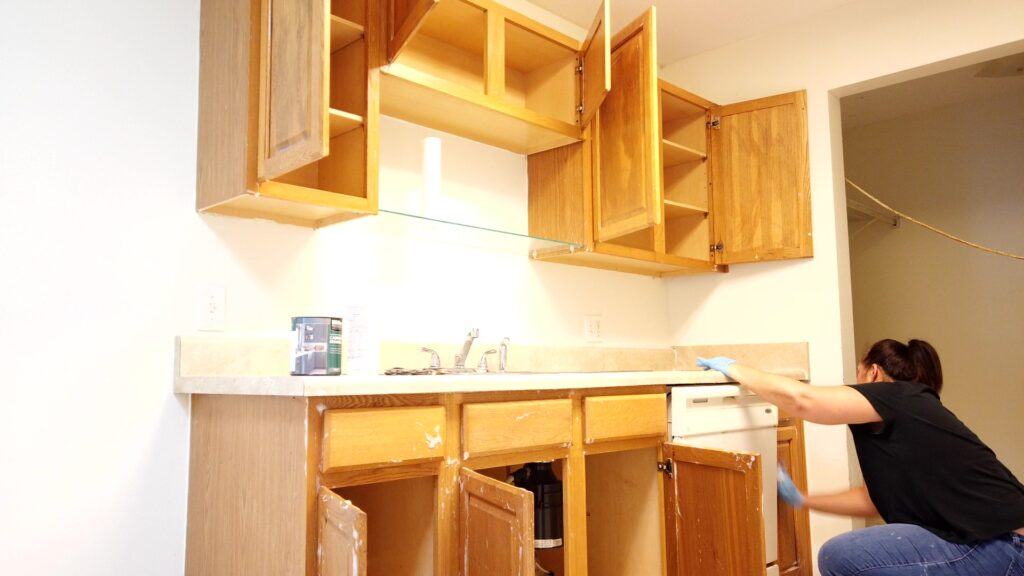 Deglossing and preparing the cabinets for paint