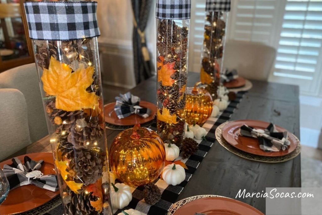 vases with fairy lights and table decor