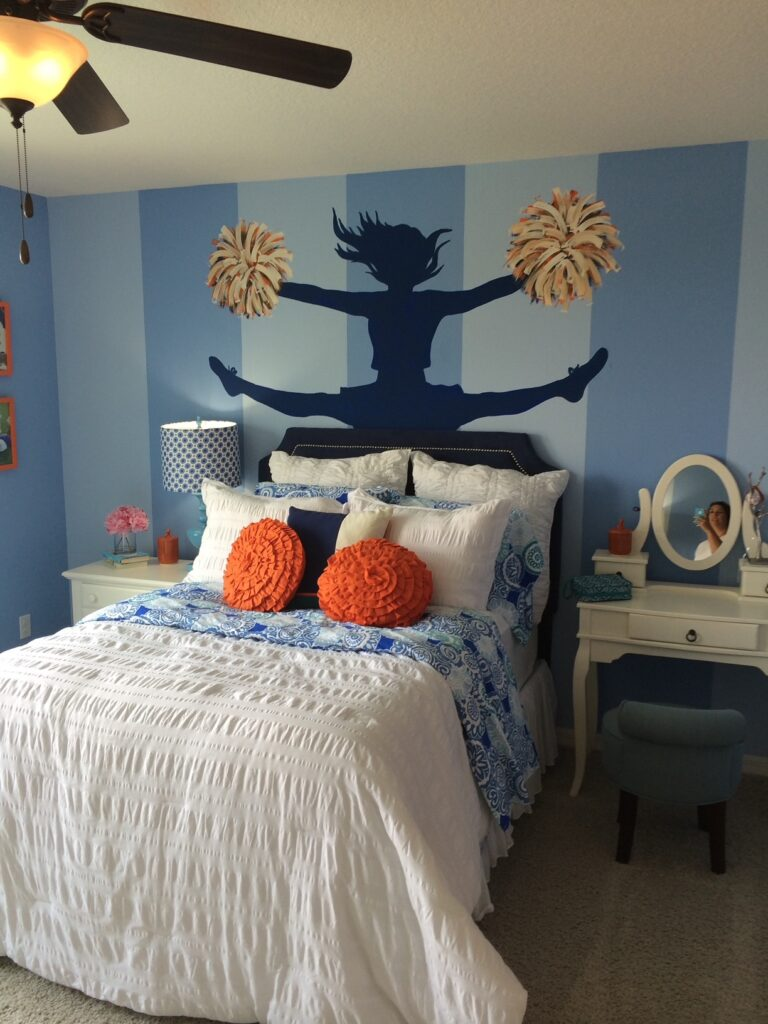 striped painted walls with sports colors