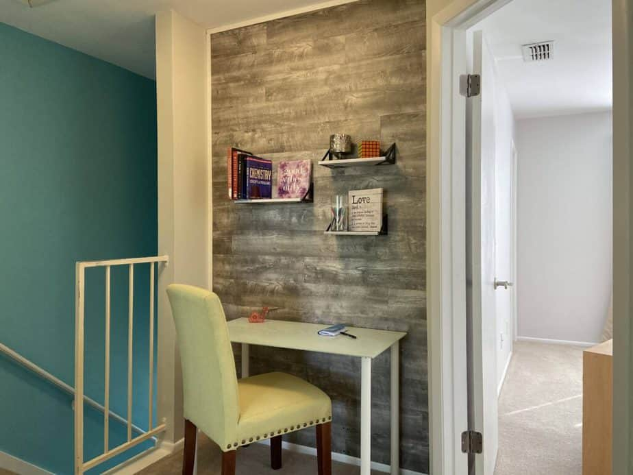 Study nook with accent wall in townhouse interior