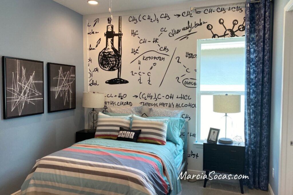 science themed bedroom with beakers and chemical formulas focus wall