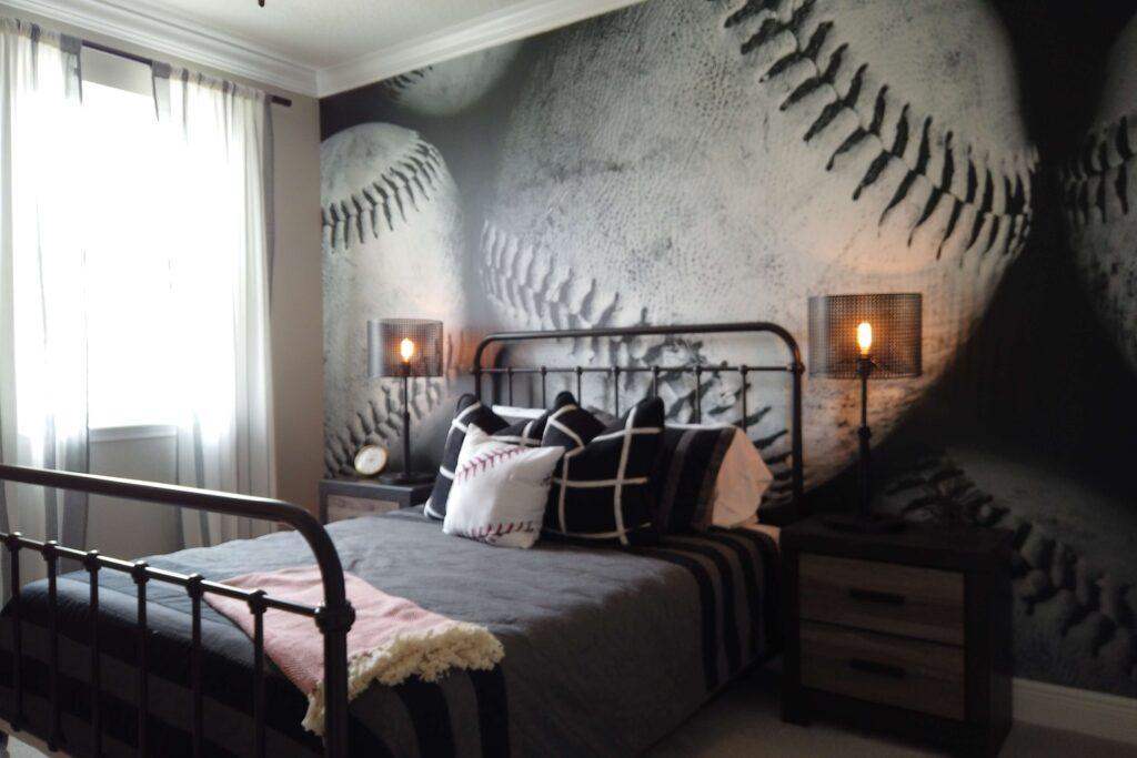 Teen bedroom with baseball wallpaper mural. Baseball or Softball themed bedroom