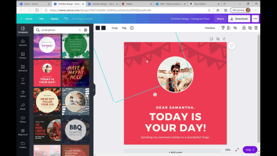 canva template with circular photo that can be used for clubhouse app template starting point
