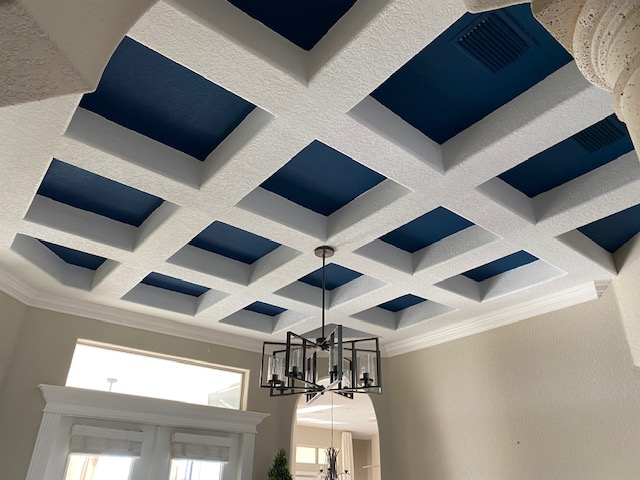 coffered ceiling painted sherwin williams naval blue