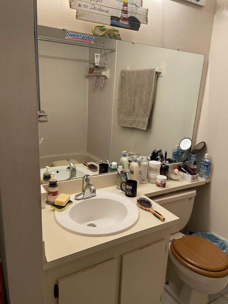 condo flip bathroom before renovation