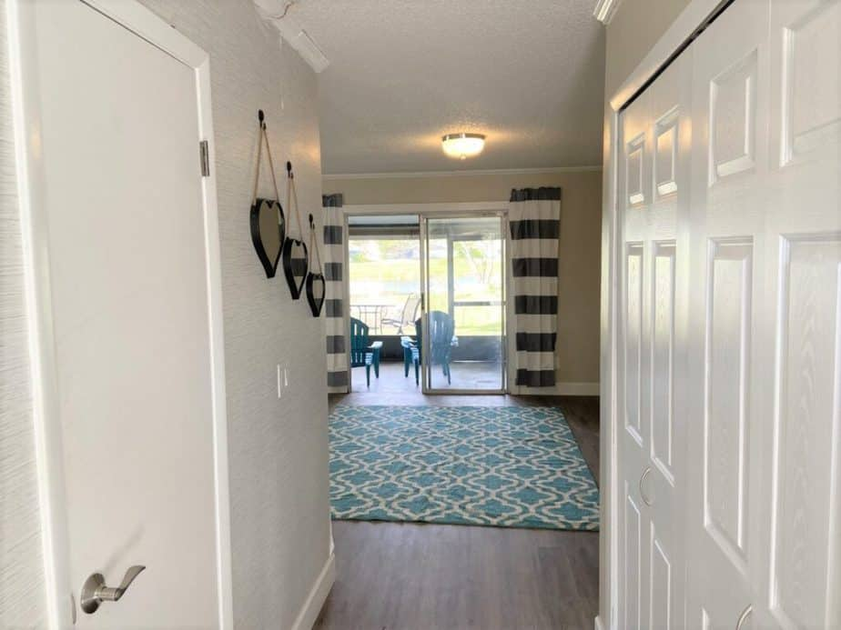 entryway wallpaper with decor items