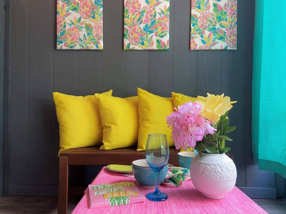 Lilly Pulitzer inspried porch on condo flip